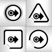 Enkel ikon set med pilar på klistermärke knappen olika former i modern stil. eps10 vektor illustration — Stockvektor