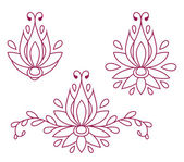 Set of decorative flat silhouette floral elements for design. vector illustration — Vecteur