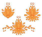 Set of decorative flat silhouette floral elements for design. vector illustration — Stock Vector