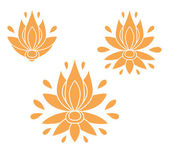 Set of decorative flat silhouette floral elements for design. vector illustration — 图库矢量图片