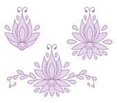Set of decorative flat silhouette floral elements for design. vector illustration — Vector de stock