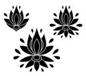 Set of decorative flat silhouette floral elements for design. vector illustration — Stockvektor