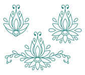 Set of decorative flat silhouette floral elements for design. vector illustration — Vetorial Stock
