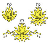 Set of decorative flat silhouette floral elements for design. vector illustration — ストックベクタ