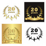 Set of golden laurel wreath with golden digit of jubilee years, golden ribbon on golden, black and white background. eps10 vector illustration — Stock Vector #31784399