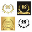 Set of golden laurel wreath with golden digit of jubilee years, golden ribbon on golden, black and white background. eps10 vector illustration — Stockvektor