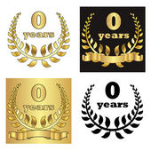 Set of golden laurel wreath with golden digit of jubilee years, golden ribbon on golden, black and white background. eps10 vector illustration — Vector de stock