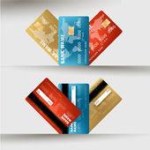 Vector illustration of detailed credit card visa — Stock Vector