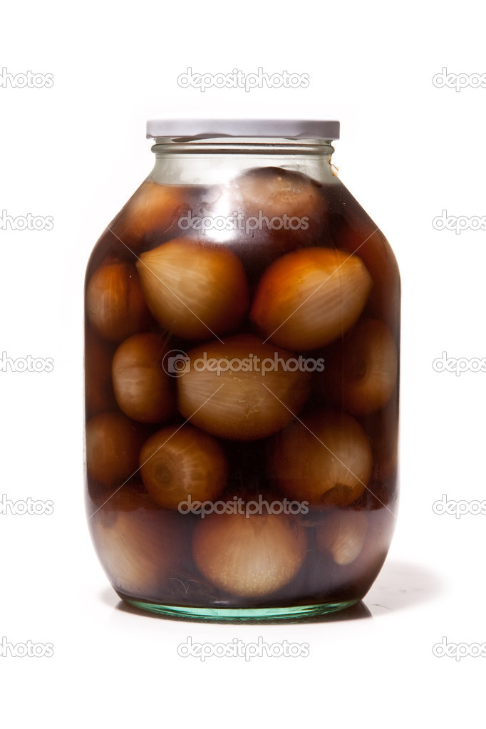 Jar of Pickled Onions Isolated