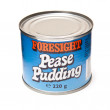 Stock Photo: Tin of Pease Pudding isolated onwhite studio background.
