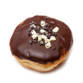 Chocolate iced donut on a white studio background. — Stock Photo