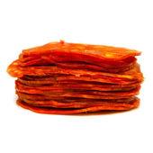 Sliced chorizo sausage isolated on a white studio background. — Foto Stock