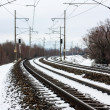Foto Stock: Snowy railroad