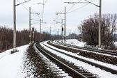 Snöiga järnväg — Stockfoto