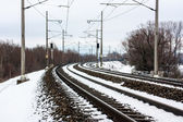 Snowy railroad — 图库照片