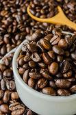 Granos de café en la taza — Foto de Stock