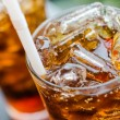 Coke with ice in glass — Stock Photo