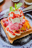 Waffle with icecream — Stock Photo