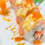 Sushi in white dish — Stock Photo
