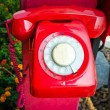 Red vintage telephone — Stockfoto