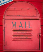 Red vintage mailbox — Stock Photo