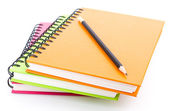 Stack of ring binder book and notebook isolated on white — Stock Photo