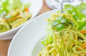 Spaghetti pesto sauce — Stock Photo