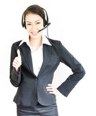 Business woman with headphone — Stock Photo