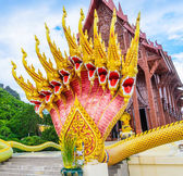 Thai temple and naga in Thailand — Stock Photo