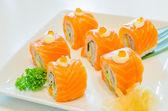 Salmon roll sushi — Stock Photo