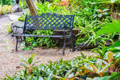 Bench in the garden park — Stock Photo
