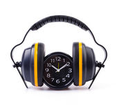Ear phones , clock — Stockfoto