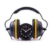 Ear phones , clock — Stock Photo