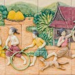 Architecture on wall in wat pho — Stock Photo