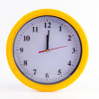 Stock Photo: Yellow clock alarm isolated on white background
