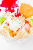 Waffle icecream and cherry — Stock Photo