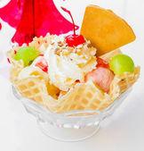 Waffle icecream and cherry — Foto Stock