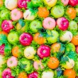 Stock Photo: Plastic fruits background