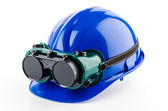 Safety helmet and goggles glasses — Stock Photo