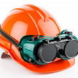 Stock Photo: Safety helmet and goggles glasses