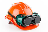 Safety helmet and goggles glasses — ストック写真