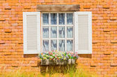 Window on brick wall — Stock Photo
