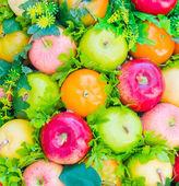 Sfondo falso frutto di plastica — Foto Stock
