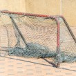 Gold soccer net — Stock Photo