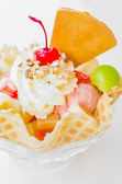 Waffle icecream and cherry — Stock Photo