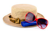 Women hat, lotion, sunglasses — Stock Photo