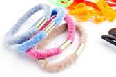 Hair clips and rubber bands — Stock Photo