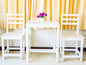 White wood table and chairs — Stock Photo