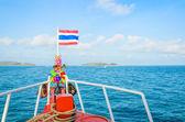 Bandera tailandesa en el barco — Foto de Stock