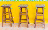 Old brown wood chairs — Stock Photo